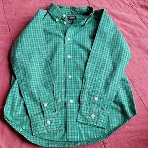 Boys Chaps Green button down shirt